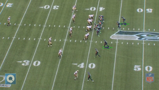 Percy Harvin will draw a lot of attention in the slot when Seattle spreads things outs. Marshawn Lynch will take advantage of the softer boxes as a result. Image courtesy of NFL Game Rewind.
