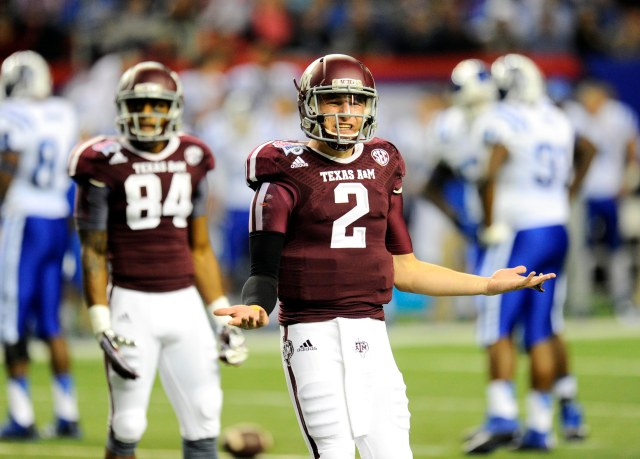 Texas A&M Aggies quarterback Johnny Manziel reacts to the sideline against the Duke Blue Devils in the 2013 Chick-fil-a Bowl at the Georgia Dome. (Dale Zanine - USA TODAY Sports)