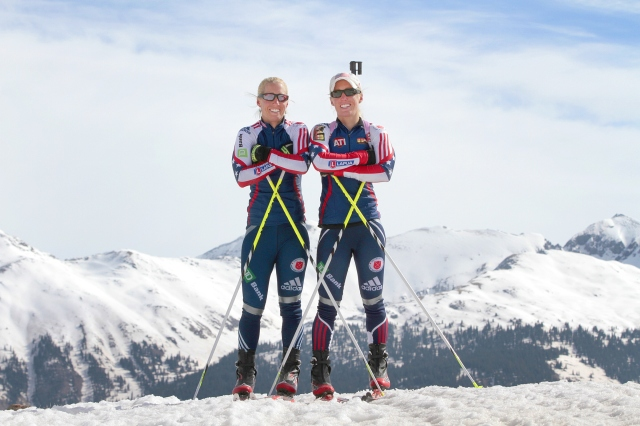 Tracy Barnes, left, stands with her twin sister Lanny Barnes near Molas Pass, Colo. on April 8, 2013, after a morning workout. (AP Photo/The Durango Herald, Shaun Stanley)