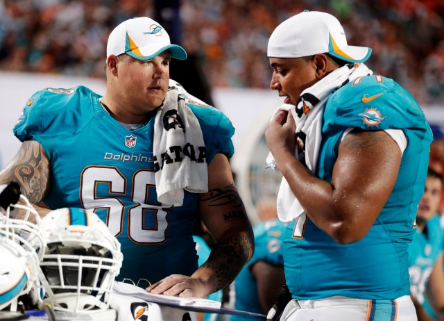 Richie Incognito (left) and Jonathan Martin. (AP Photo/Wilfredo Lee)
