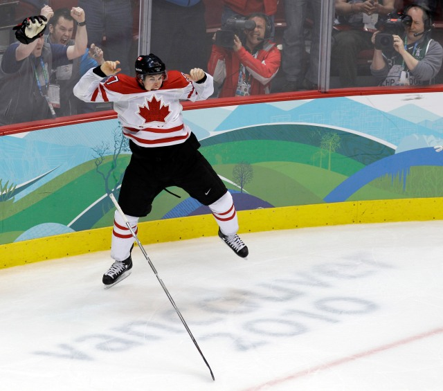 The iconic image from Canada's win over the U.S. in the 2010 gold-medal game: Sidney Crosby celebrating his game-winning goal. (Associated Press)