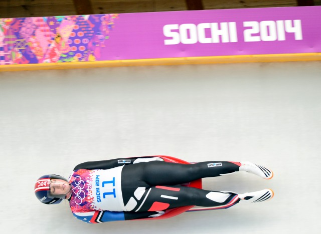 Erin Hamlin (USA) completes her third run. (John David Mercer, USA TODAY Sports)