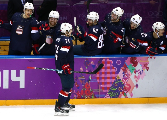 The U.S. men's hockey team. (Clive Mason/Getty Images)