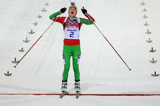 Darya Domracheva of Belarus. (Richard Heathcote/Getty Images)