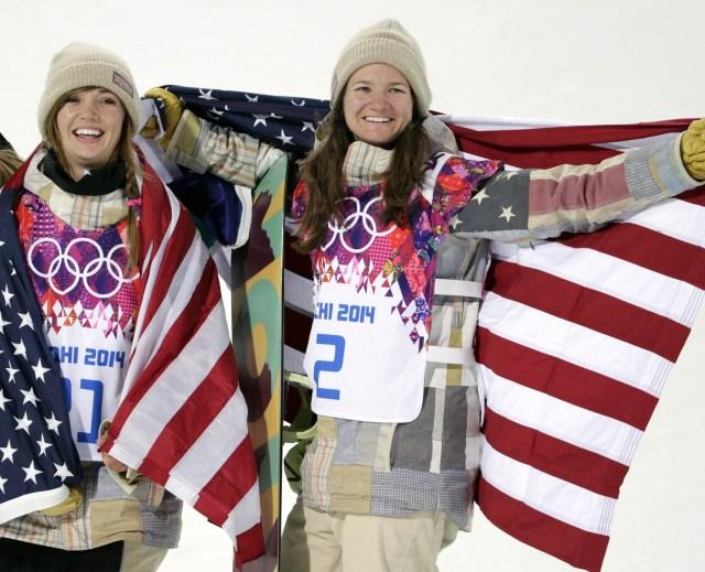 Kaitlyn Farrington (USA, center) wins gold and Kelly Clark (USA, right) wins bronze (Andrew P. Scott, USA TODAY Sports)