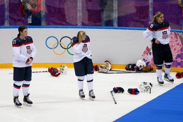 Team USA react to their 3-2 overtime loss to Canada. (Winslow Townson, USA TODAY Sports)