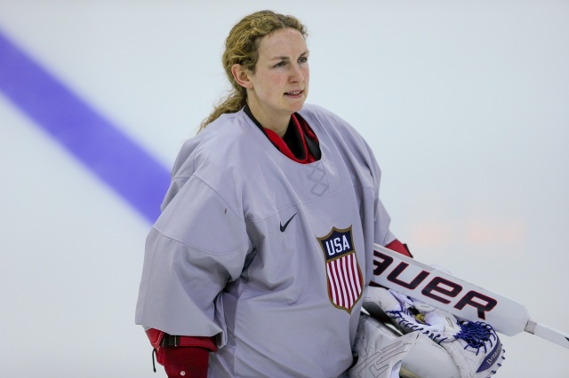 USA goalie Jessie Vetter during practice. (Kevin Liles, USA TODAY Sports)