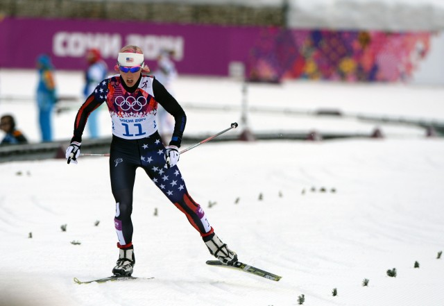 Kikkan Randall (USA) on her qualifying run in the women's cross-country sprint at Laura Cross-Country Ski and Biathlon Center. (Kyle Terada, USA TODAY Sports)