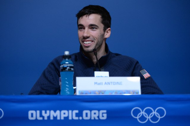 Matt Antoine addresses the media during the USA Skeleton Team press conference prior to the 2014 Sochi Winter Olympic Games at Main Media Center-Tolstoy Hall. (Kyle Terada-USA TODAY Sports)