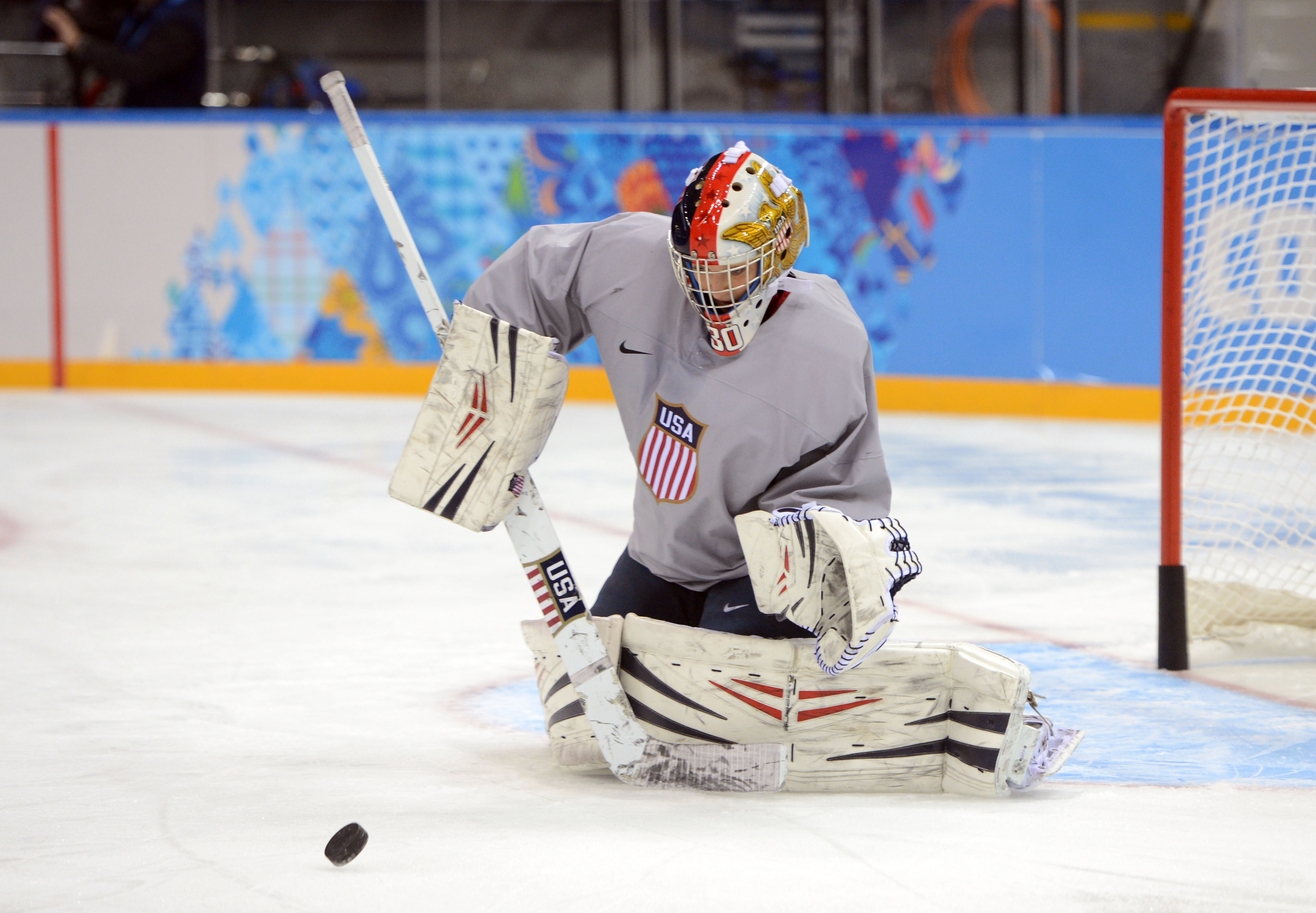 USA goalkeeper Molly Schaus (30) during a practice session in preparation for the 2014 Sochi Olympic Winter Games at Shayba Arena. (Jayne Kamin-Oncea, USA TODAY Sports)