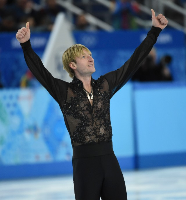 Evgeny Plyuschenko of Russia performs in the team men free skate during the Sochi 2014 Olympic Winter Games at Iceberg Skating Palace.  (Robert Deutsch, USA TODAY Sports)