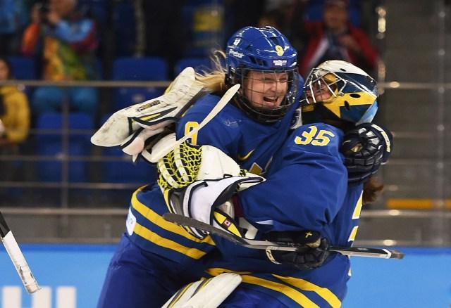 Sweden defenseman Josefine Holmgren (9) celebrates an upset win over Finland in the quarterfinals with Sweden goalkeeper Valentina Wallner (35). (Kyle Terada, USA TODAY Sports)