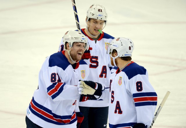 Phil Kessel, James van Reimsdyk and Joe Pavelski have formed the U.S.'s top line so far. (Jayne Kamin-Oncea, USA TODAY Sports)