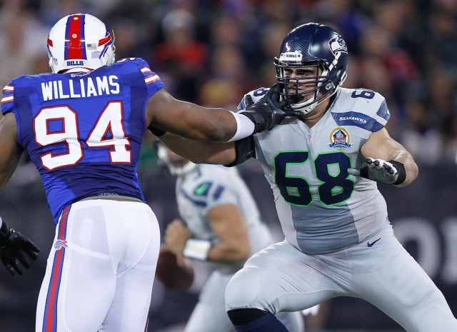 Seattle Seahawks right tackle Breno Giacomini is set to test free agency after starting 33 games the past three seasons. (John E. Sokolowski - USA TODAY Sports)