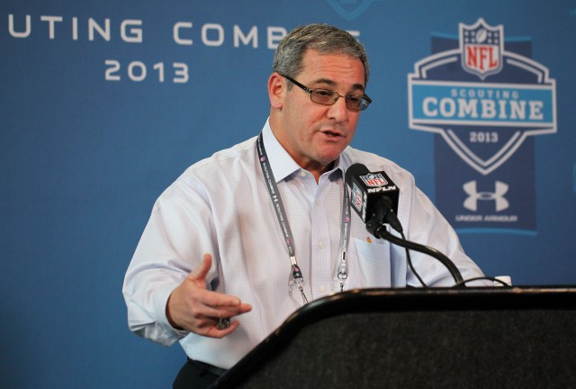 Carolina Panthers general manager Dave Gettleman speaks at a press conference during the 2013 NFL Combine at Lucas Oil Stadium.   Brian Spurlock-USA TODAY Sports.