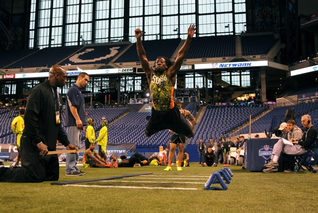 Washington Huskies defensive back Desmond the broad jump during the NFL Combine at Lucas Oil Stadium. (Brian Spurlock - USA TODAY Sports)