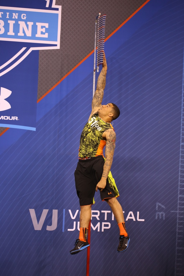 New Orleans Saints safety Kenny Vaccaro does the vertical jump during the NFL Combine at Lucas Oil Stadium. (Brian Spurlock - USA TODAY Sports)