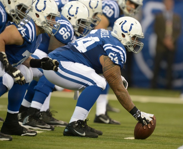 Samson Satele started 24 games at center for the Indianapolis Colts the past two years, but the team may be ready to upgrade. (Kirby Lee - USA TODAY Sports)