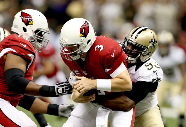 Arizona Cardinals quarterback Carson Palmer was sacked 41 times during the 2013 season. (Chuck Cook - USA TODAY Sports)