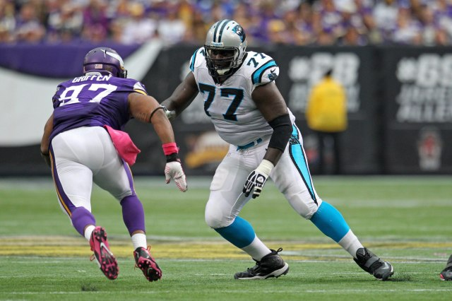 Byron Bell has struggled at right tackle, and hasn't shown the ability to protect Cam Newton's blindside. Brace Hemmelgarn-USA TODAY Sports.