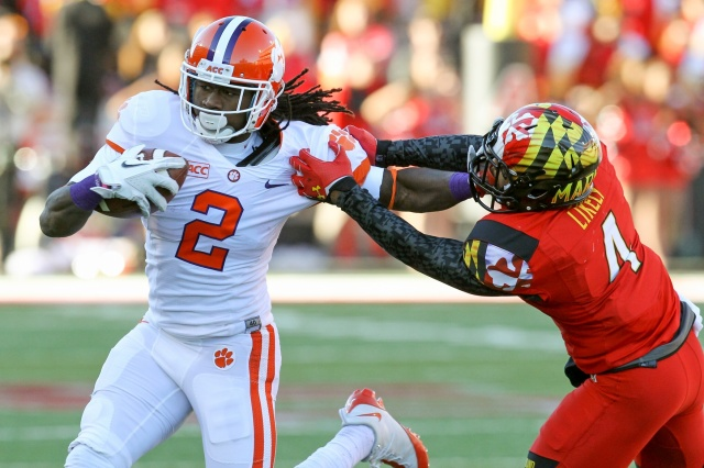 Clemson Tigers wide receiver Sammy Watkins tackled following his catch by Maryland Terrapins defensive back William Likely. (Mitch Stringer - USA TODAY Sports)