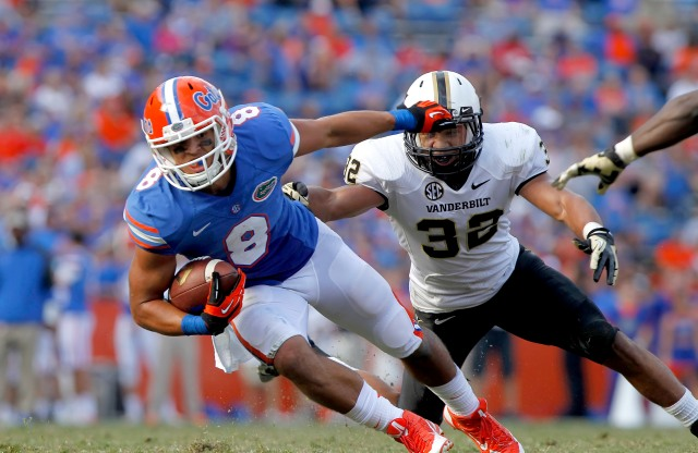 Florida's Trey Burton was by far the smallest tight end measured at the NFL Combine. Kim Klement-USA TODAY Sports.