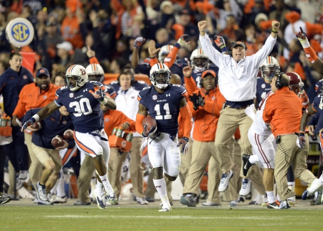 Auburn Tigers cornerback Chris Davis (11) scores a 100 yard touchdown on a missed field goal attempt during the fourth quarter against the Alabama Crimson Tide at Jordan Hare Stadium. Auburn Tigers won 34-28. (John David Mercer - USA TODAY Sports)