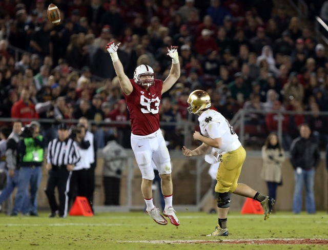 Stanford's Trent Murphy will trouble opposing quarterbacks with his length on the next level. Kelley L Cox-USA TODAY Sports.