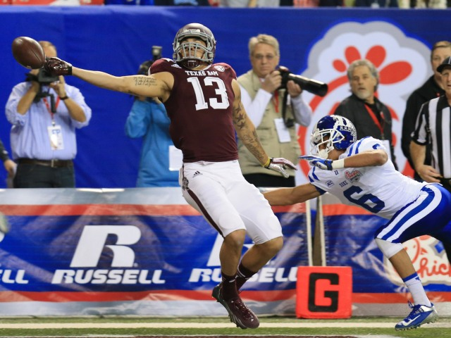 Texas A&M's Mike Evans dwarfed the receiver field in terms of arm length. Daniel Shirey-USA TODAY Sports.