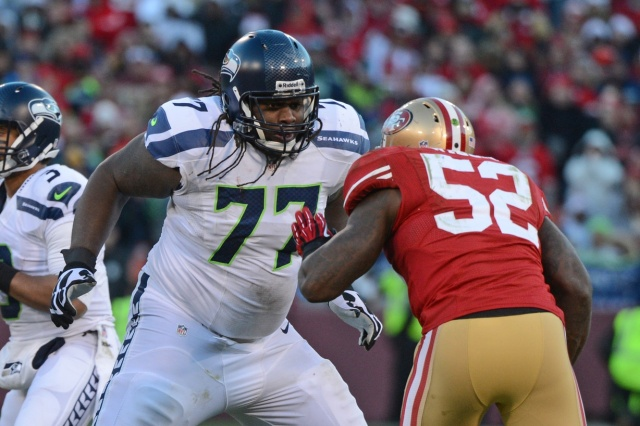 Seattle Seahawks guard James Carpetner was a first round pick in 2011, but he hasn't been able to hold down a starting role. (Kyle Terada - USA TODAY Sports)