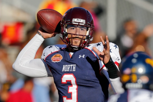 North squad quarterback Logan Thomas of Virginia Tech throws against the South squad during the Reese's Senior Bowl at Ladd-Peebles Stadium. (Derick E. Hingle - USA TODAY Sports)