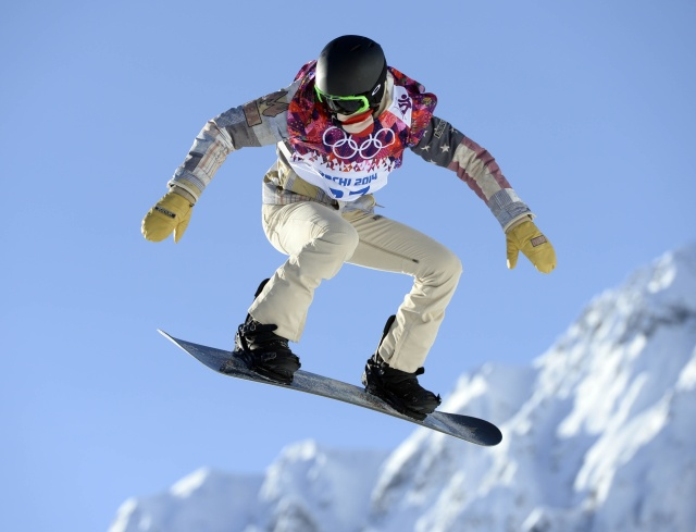 USA snowboarder Shaun White during a training session on the hill at the 2nd jump at Extreme Park.  (Credit: Jack Gruber - USA TODAY Sports)