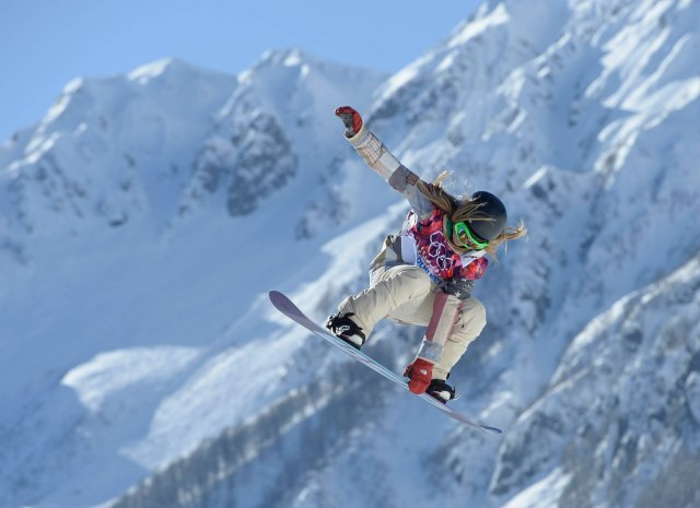 USA snowboarder Jamie Anderson on the hill at the 2nd jump during a training session prior to the start of the Sochi 2014 Winter Olympic Games at Extreme Park. Mandatory Credit: Jack Gruber-USA TODAY Sports