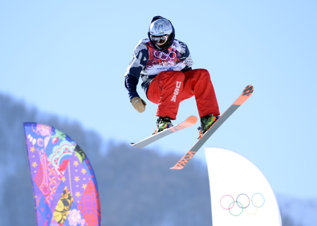 Nicholas Goepper practices for slopestyle skiing prior to the Sochi 2014 Olympic Games at Rosa Khutor Extreme Park. (Jack Gruber - USA TODAY Sports)