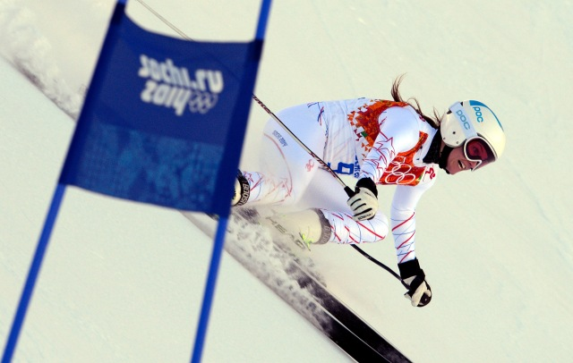Julia Mancuso during the ladies' alpine skiing downhill training session prior to the 2014 Sochi Olympic Winter Games at Rosa Khutor Alpine Center. (Credit: Paul Bussi - USA TODAY Sports)