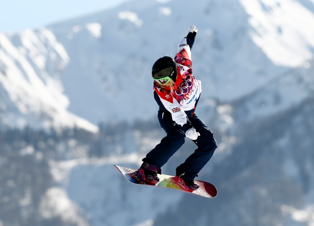 Jenny Jones (GBR) during ladies slopestyle qualification in the Sochi 2014 Olympic Winter Games at Rosa Khutor Extreme Park. Mandatory Credit: Rob Schumacher-USA TODAY Sports
