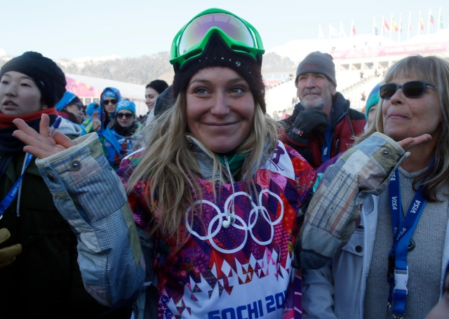 Jamie Anderson (USA) after ladies slopestyle qualification in the Sochi 2014 Olympic Winter Games at Rosa Khutor Extreme Park. Mandatory Credit: Nathan Bilow-USA TODAY Sports