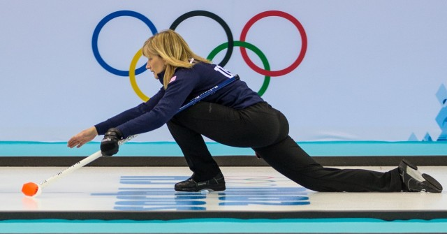 Erika Brown (USA) during women's curling practice at Ice Cube Curling Center. Mandatory Credit: Kevin Liles-USA TODAY Sports