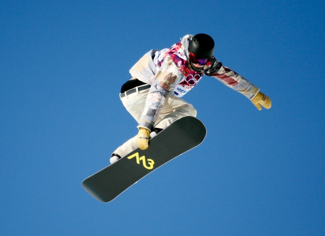 Sage Kotsenburg (USA) during practice before men's slopestyle finals at the Sochi 2014 Olympic Winter Games at Rosa Khutor Extreme Park. Mandatory Credit: Kevin Jairaj-USA TODAY Sports