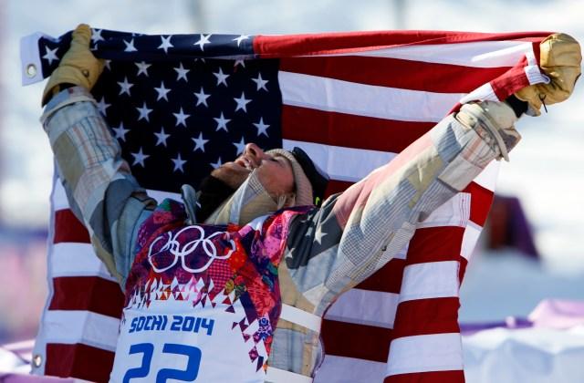 Sage Kotsenburg (USA) celebrates after winning gold in men's slopestyle finals at the Sochi 2014 Olympic Winter Games at Rosa Khutor Extreme Park. Mandatory Credit: Nathan Bilow-USA TODAY Sports