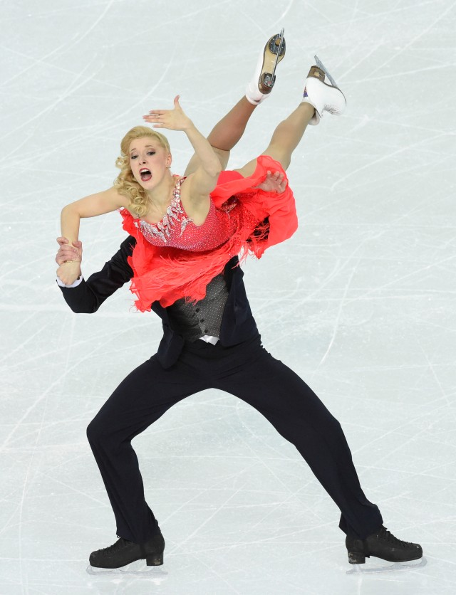 Ekaterina Bobrova and Dmitri Soloviev of Russia perform in the team ice dance short dance program during the Sochi 2014 Olympic Winter Games at Iceberg Skating Palace. Mandatory Credit: Richard Mackson-USA TODAY Sports