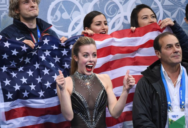 Ashley Wagner of USA celebrates her scores after the figure skating team ladies short program at the Sochi 2014 Olympic Winter Games at Iceberg Skating Palace. Mandatory Credit: Robert Deutsch-USA TODAY Sports