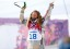 Jamie Anderson (USA) reacts after the ladies slopestyle finals of the Sochi 2014 Olympic Winter Games at Rosa Khutor Extreme Park. Mandatory Credit: Andrew P. Scott-USA TODAY Sports