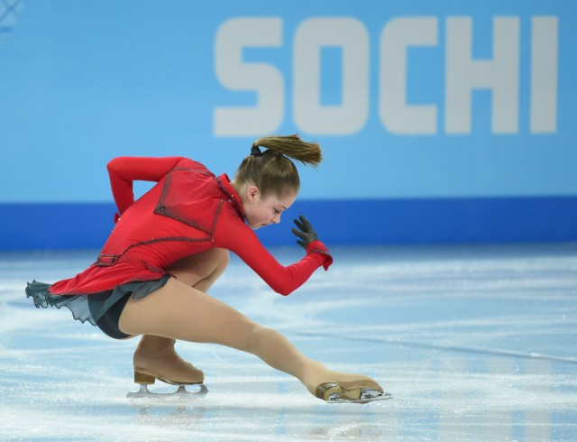 Yulia Lipnitskaia of Russia performs in the team ladies free skate during the Sochi 2014 Olympic Winter Games at Iceberg Skating Palace. Mandatory Credit: Robert Deutsch-USA TODAY Sports