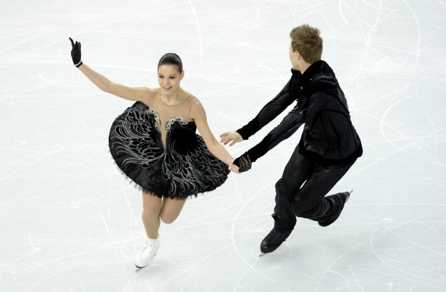 Elena Ilinykh and Nikita Katsalapov (RUS) perform in the team ice dance free dance during the Sochi 2014 Olympic Winter Games at Iceberg Skating Palace. Mandatory Credit: Richard Mackson-USA TODAY Sports