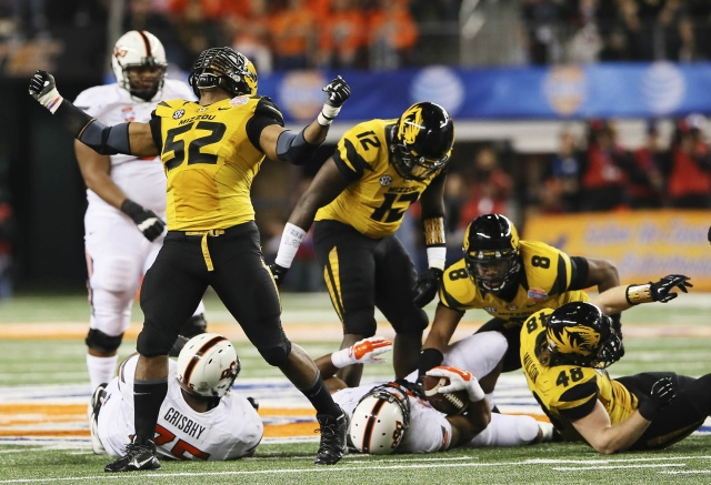 Missouri Tigers defensive lineman Michael Sam reacts after a play against the Oklahoma State Cowboys. (Kevin Jairaj-USA TODAY Sports)
