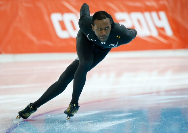 Shani Davis during warmups for the men's speed skating 500m race during the Sochi 2014 Olympic Winter Games at Adler Arena Skating Center. Mandatory Credit: Jeff Swinger-USA TODAY Sports