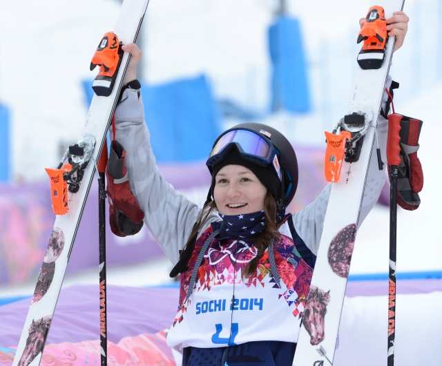 Devin Logan reacts after her first run in the finals. (Jack Gruber-USA TODAY Sports)