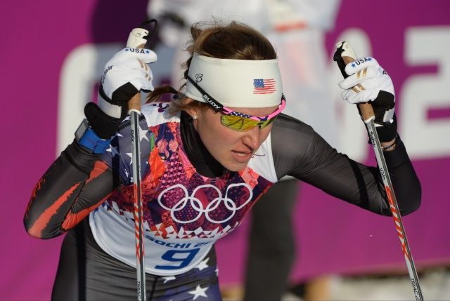 Sophie Caldwell after crossing the finish line during the semifinals at Sochi 2014 Olympic Winter Games at Laura Cross-Country Ski and Biathlon Center. (Kyle Terada-USA TODAY Sports)