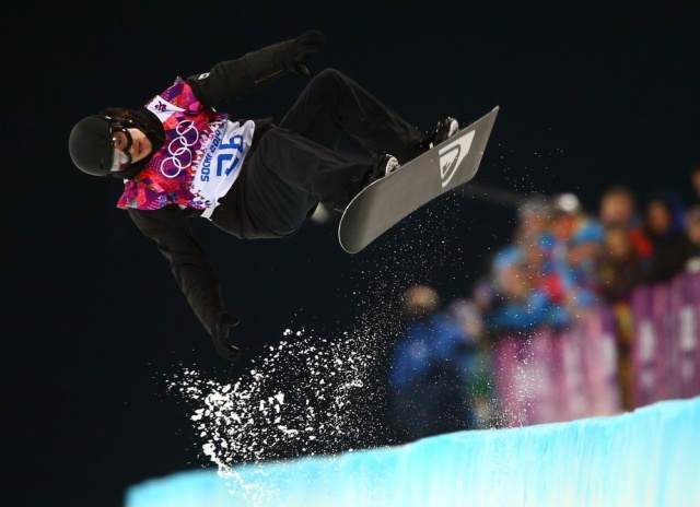 Iouri Podladtchikov on his second run during the men's snowboarding halfpipe finals of the Sochi 2014 Olympic Winter Games at Rosa Khutor Extreme Park. (Guy Rhodes - USA TODAY Sports)